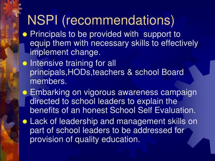NSPI (recommendations)