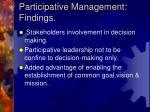 participative management findings