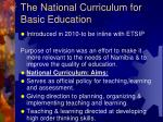 the national curriculum for basic education