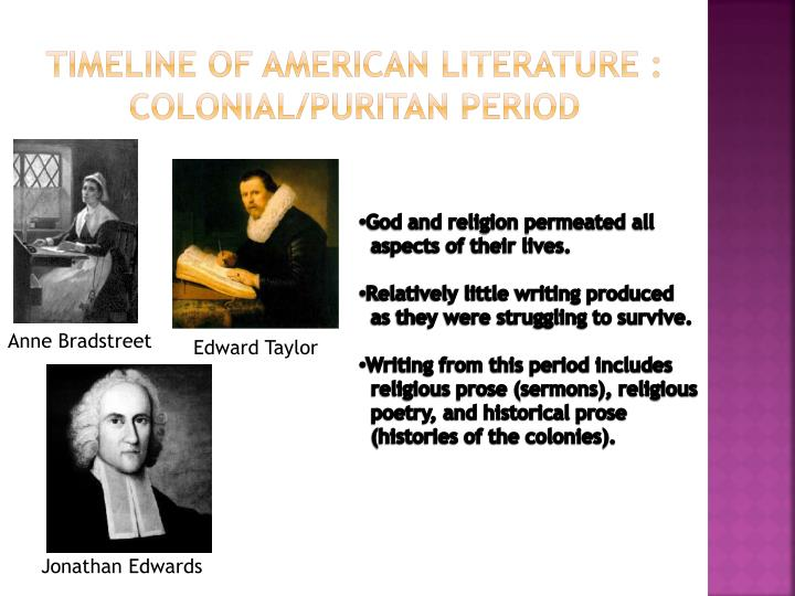 timeline of american literature colonial puritan period n.
