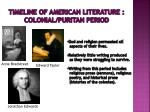 timeline of american literature colonial puritan period