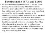 farming in the 1870s and 1880s
