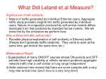 what did leland et al measure1