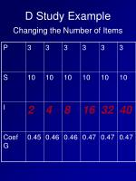d study example changing the number of items