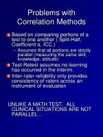 problems with correlation m ethods