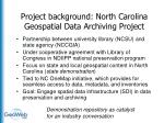 project background north carolina geospatial data archiving project