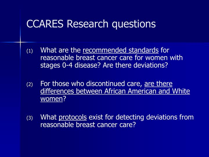 CCARES Research questions