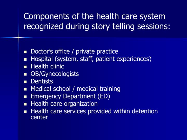 Components of the health care system recognized during story telling sessions: