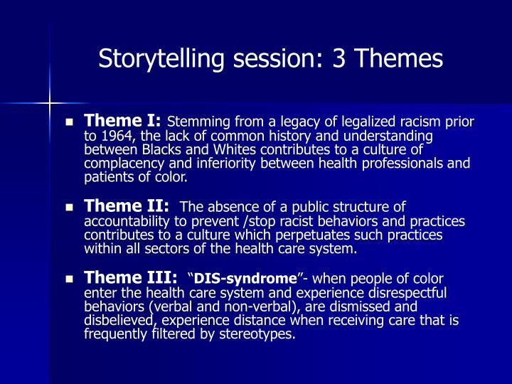 Storytelling session: 3 Themes