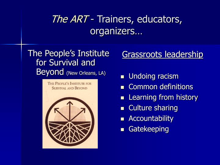 The art trainers educators organizers