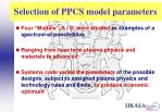 selection of ppcs model parameters