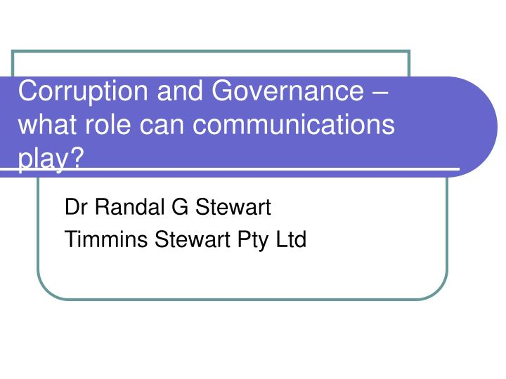 corruption and governance what role can communications play n.