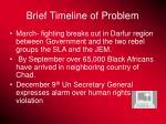 brief timeline of problem
