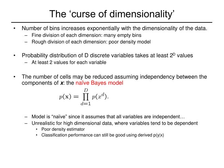 The 'curse of dimensionality'