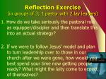 reflection exercise in groups of 3 1 pastor with 2 lay leaders
