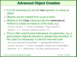 advanced object creation