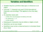 variables and identifiers