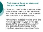 first create a thesis for your essay that you can defend