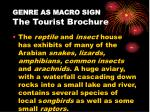 genre as macro sign the tourist brochure