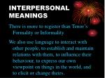 interpersonal meanings