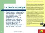 la deuda municipal