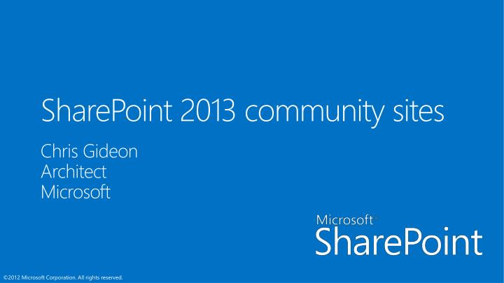 sharepoint 2013 community sites n.