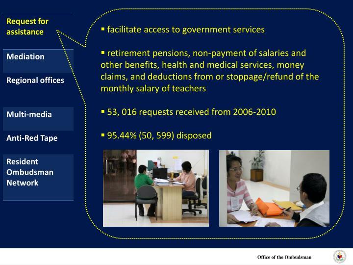 facilitate access to government services
