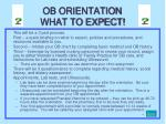 ob orientation what to expect