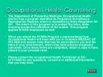 occupational health counseling