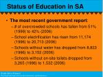 status of education in sa