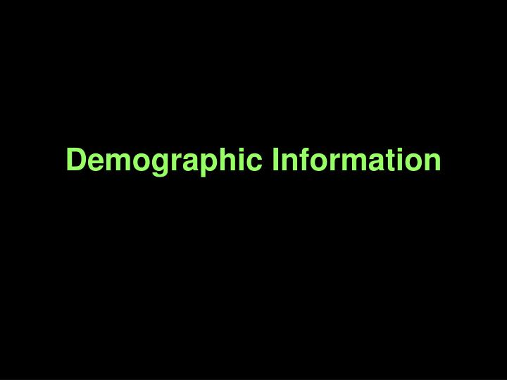 demographic information n.