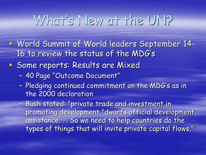 What's New at the UN?