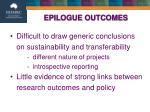 epilogue outcomes