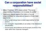 can a corporation have social responsibilities