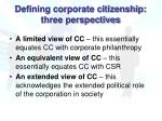 defining corporate citizenship three perspectives