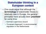 stakeholder thinking in a european context