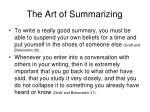 the art of summarizing