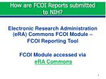 how are fcoi reports submitted to nih