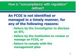 how is noncompliance with regulation defined