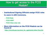 how to get access to the fcoi module