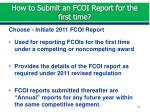 how to submit an fcoi report for the first time