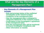 what are the key elements of a management plan