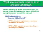 what information is required in an annual fcoi report