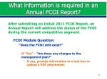 what information is required in an annual fcoi report1