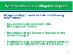what to include in a mitigation report