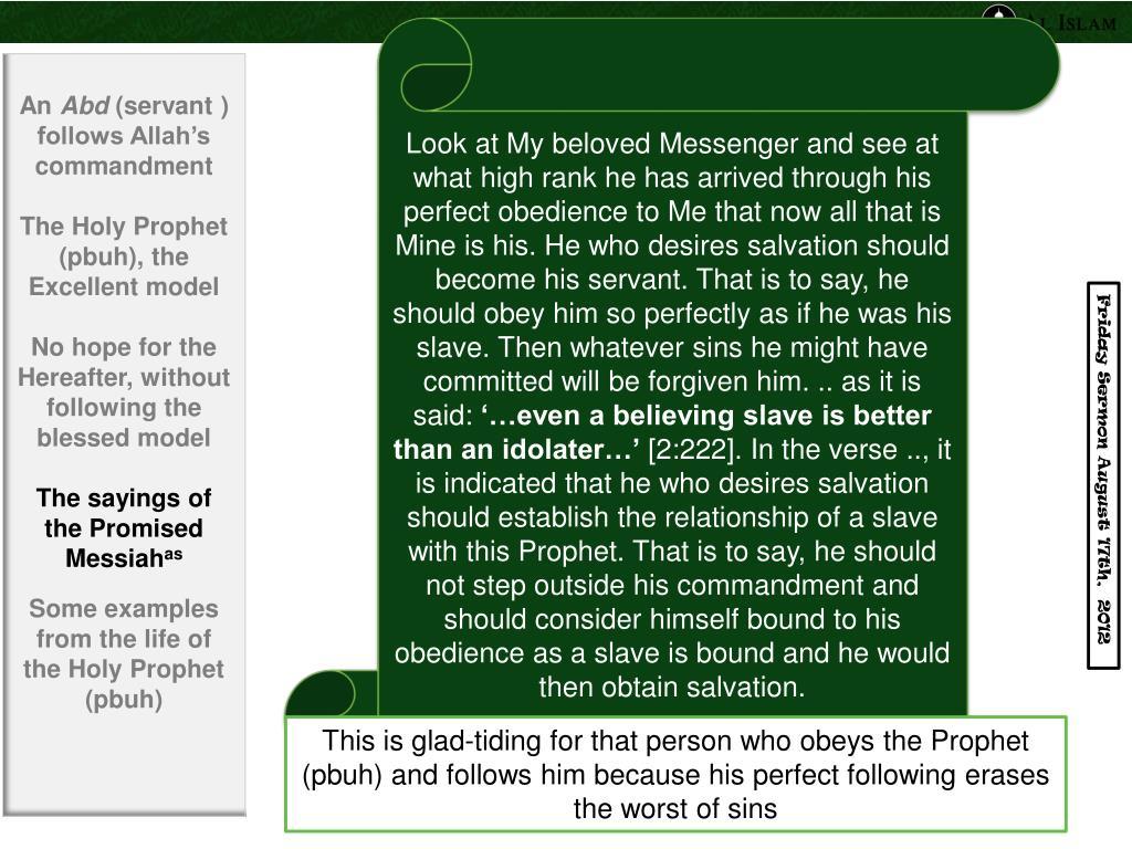 PPT - Sermon Delivered by Hadhrat Mirza Masroor Ahmad (aba