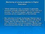 mentoring of young academia in higher education