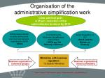 organisation of the administrative simplification work