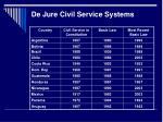 de jure civil service systems