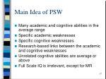 main idea of psw
